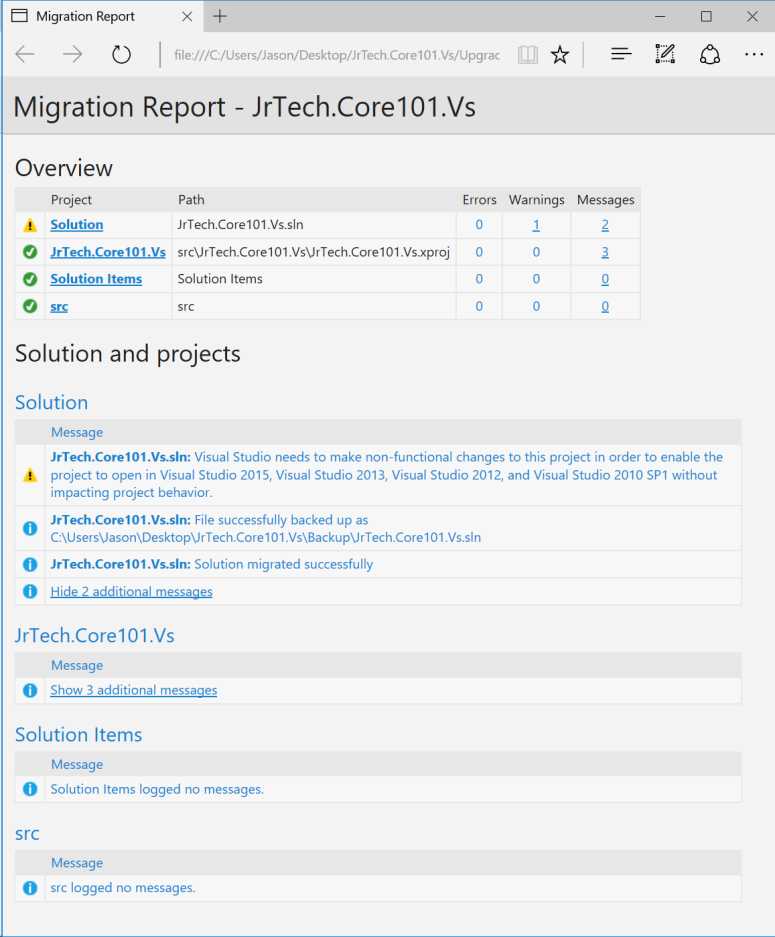 Visual Studio 2017 Migration Report