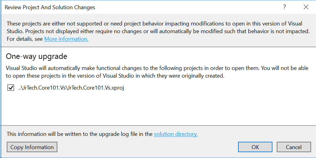 Visual Studio 2017 Upgrade